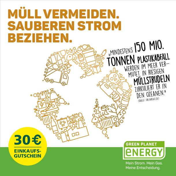 Greenpeace Energy: Müll vermeiden - sauberen Strom beziehen - Einkaufgutschein sichern