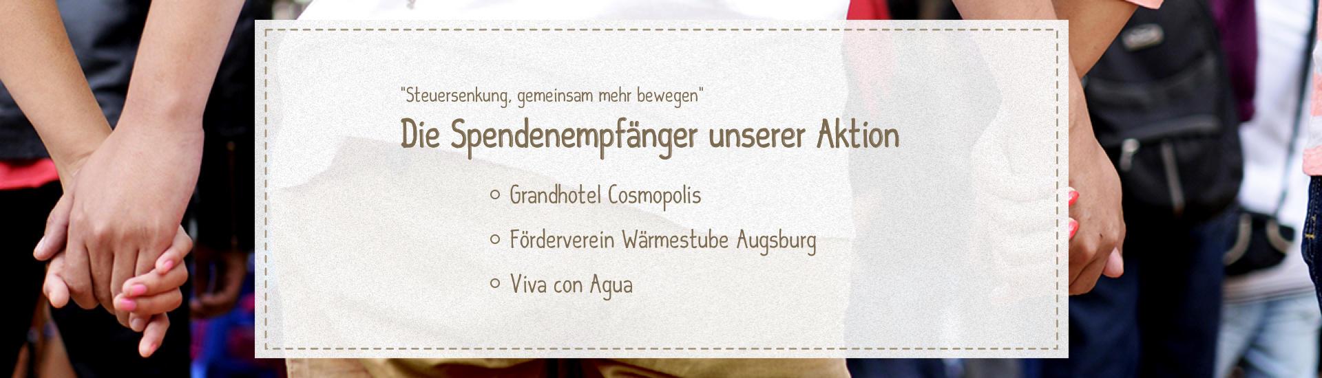 """Die Spendenempfänger unserer Aktion """"Steuersenkung - gemeinsam mehr bewegen"""""""